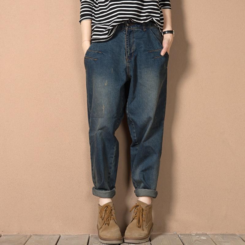 Loves LR L-4XL 5XL Plus Size Cotton Harem Jeans Pants Boyfriend Loose Baggy Jeans For Women Brand Clothing Dark Blue