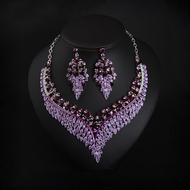 Purple Crystal Rhinestone Choker Necklace Earring Set Wedding Party Prom Bridal Jewelry For Brides Bridesmaid