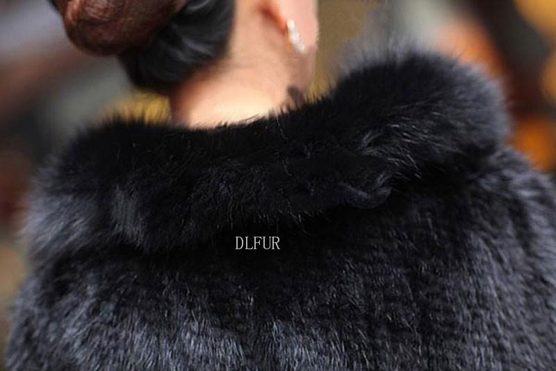 Hot Sale Genuine Mink Fur Shawl With Fox Fur Trim Women Natural Mink Fur Poncho Winter Knitted Mink Fur Jackets DL6235 (12)