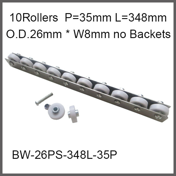 ФОТО POM Resin Wheel Conveyor 10 wheels 35 Pitch * 348mm Long / Wheel 26mm O.D.* 8mm Width Running Fast and Smooth Capacity 20Kgf