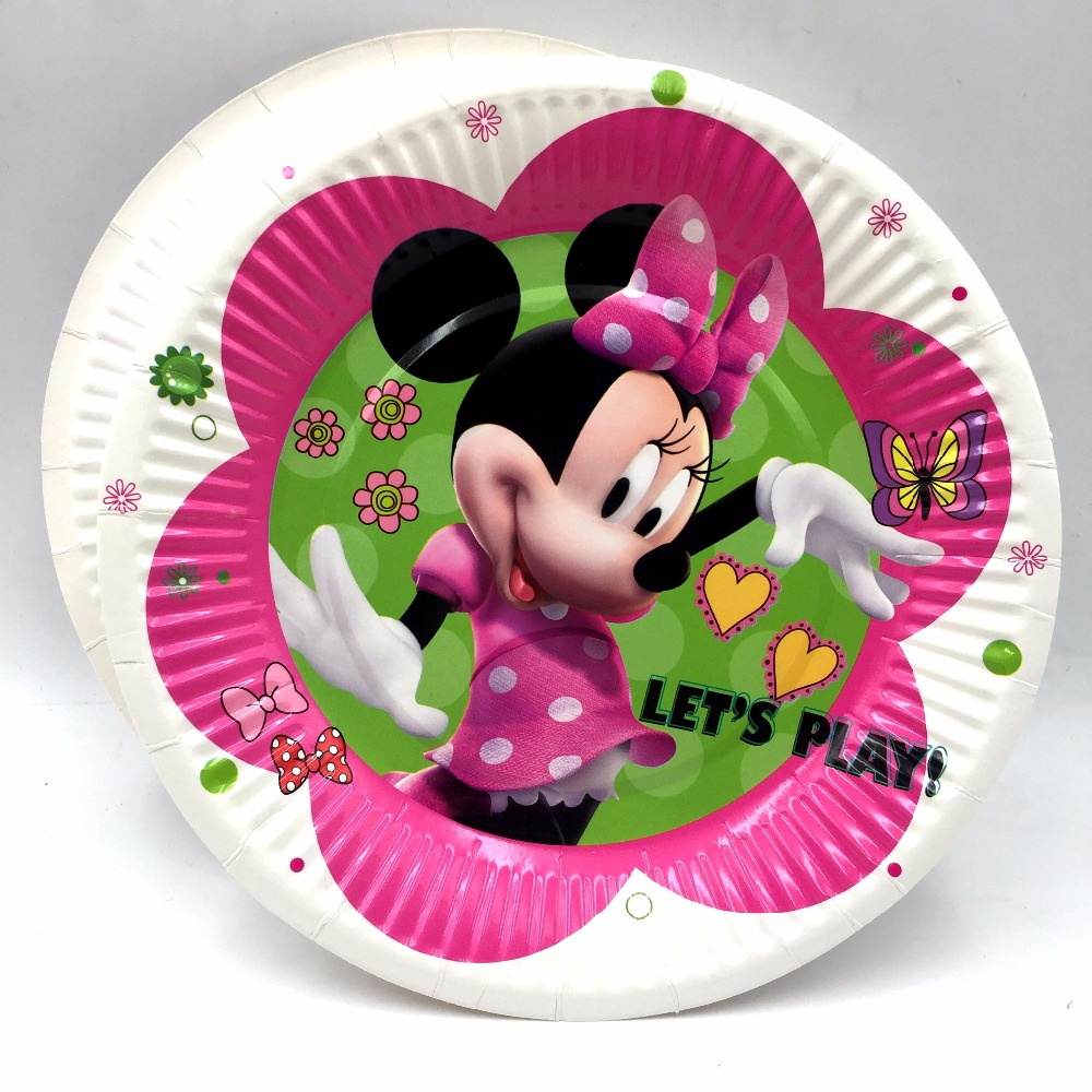 10pcs bag minnie mouse party supplies paper plate cake for Baby minnie mouse party decoration