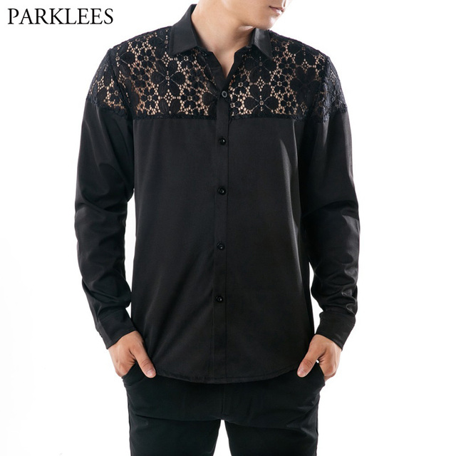 eb06e5a4f0 Mens Slim Fit Long Sleeve Shirt 2018 Autumn New Fashion Sexy Black Lace Shirt  Mens Casual