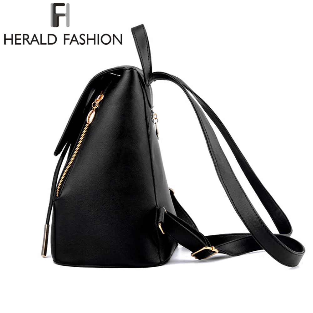 Women Backpack High Quality Pu Leather Mochila Escolar School Bags For Teenagers Girls Top-handle Backpacks Herald Fashion #5