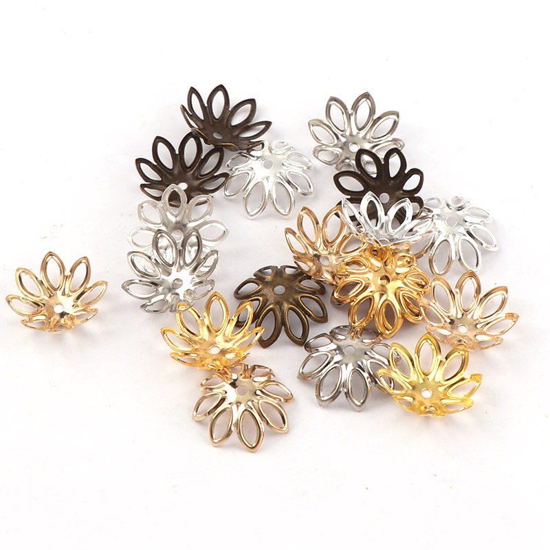 100pcs/lot 15MM Silver Gold Bronze Plated Flower Petal End Spacer Beads Caps Charms Bead Cups For Diy Jewelry Making Accessories