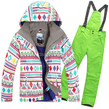 2015 womens ski suit ladies snowboarding suit skiwear colourful diamonds jacket + green pants waterproof breathable 7colors