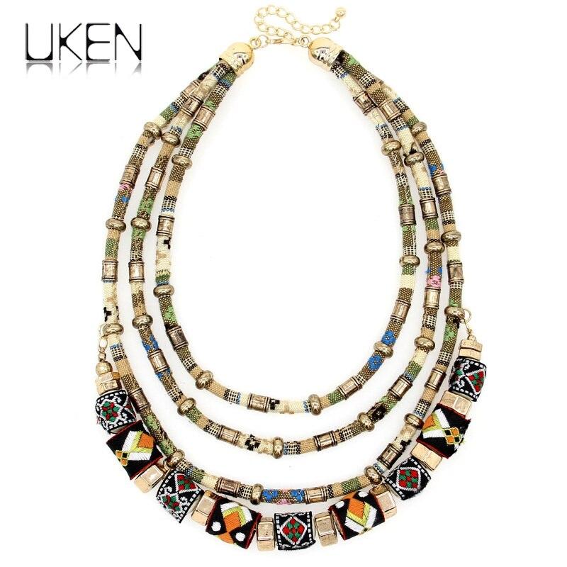 ae93d1afbdde UKEN Bohemia estilo hecho a mano declaración Chokers joyería Multi capa  paño superficie cadenas collar mujeres accesorios Vintage 2018