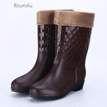 Rouroliu New Women Fashion Mid-calf Rain Boots Non-slip Waterproof Water Shoes Woman Winter Warm Inserts Wellies  FR72