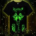 Comercio al por mayor de verano marca de ropa de La Novedad camiseta Para Hombre homme 3D Brillan en la Oscuridad Luminosa camiseta de Los Hombres Lobo de Manga Corta Impresa camiseta