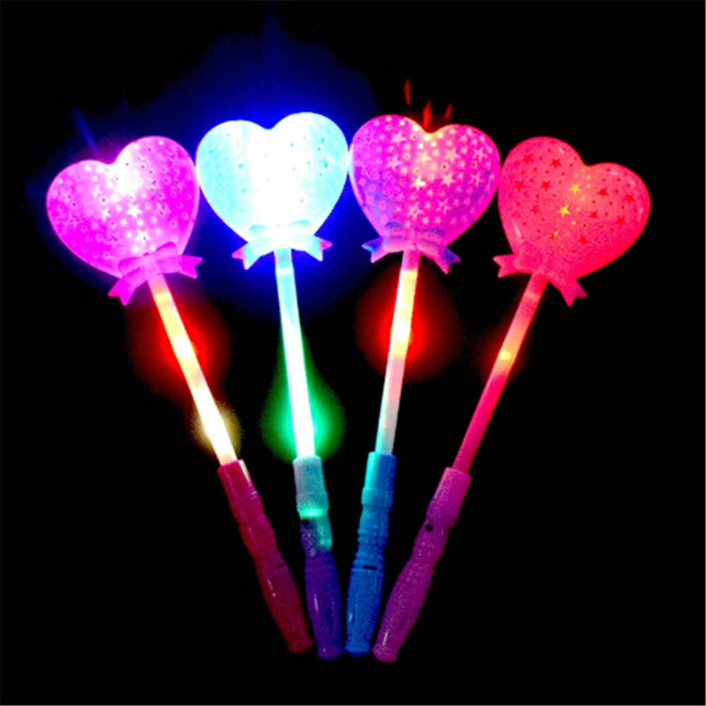 Baru Berbentuk Hati LED Light Mainan Tongkat Sihir Lampu LED Mainan Berkedip Bersinar Cahaya Tongkat Bercahaya Mainan