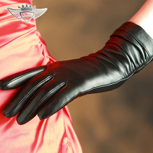 Mid-Long Women Genuine Leather Gloves Top Quality Goatskin Winter Sheepskin Female Driving 902