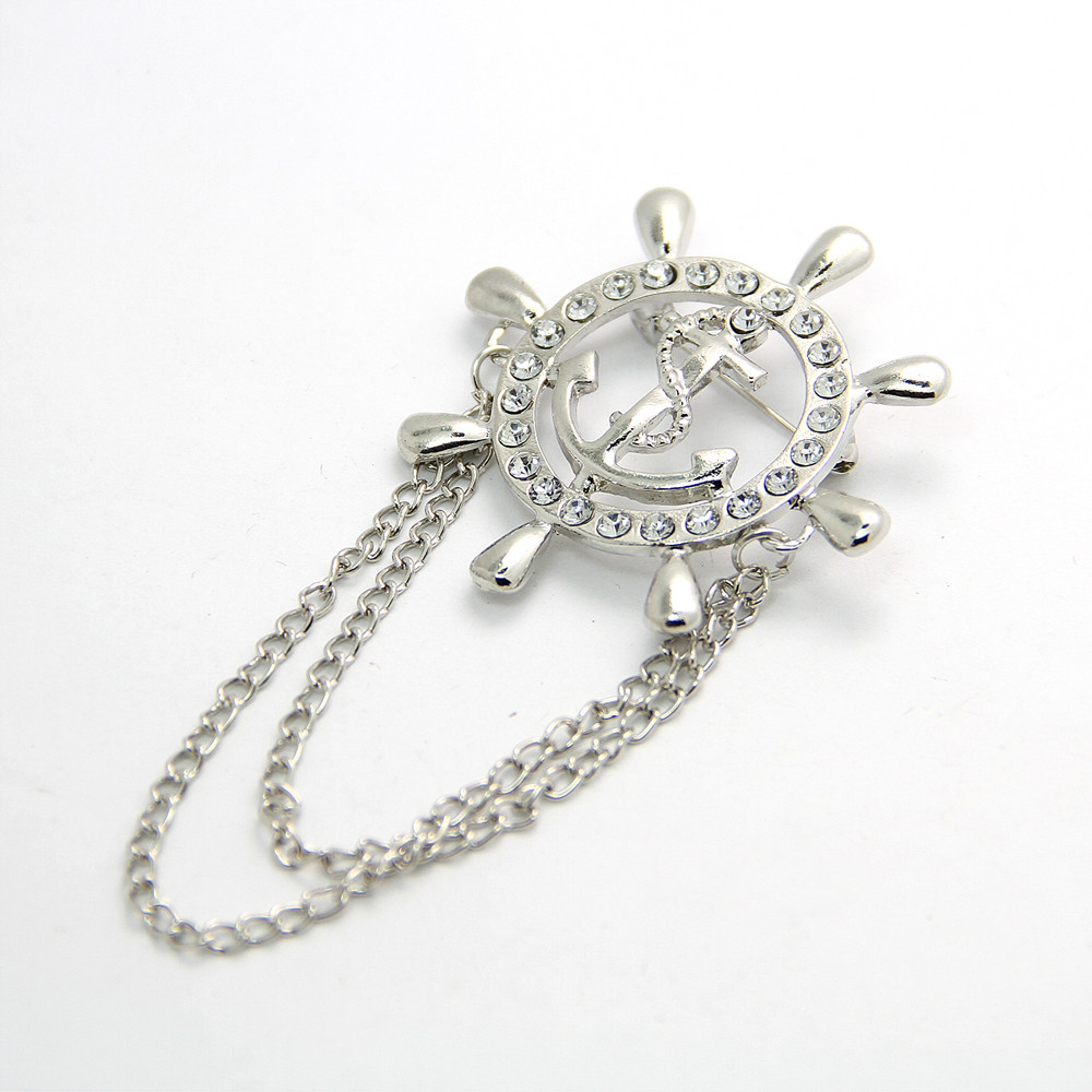 135331938c6 Vintage anchor brooch Tassel chain men brooches and pins for suits wedding  crystal brooches fashion jewelry lapel pins CY094-in Brooches from Jewelry  ...