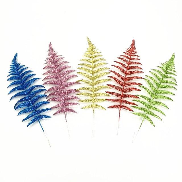 40cm Golden Silver Glitter Fern Feather Artificial Flower Gilded
