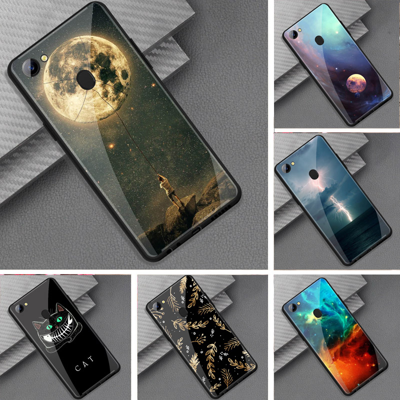 save off e2696 5f130 For Oppo F7 Case Tempered Glass Phone Case Space Moon Cat Black Silicone  Bumper Cover For Oppo F7 OPPO F 7 2018 6.23 Inch Cover