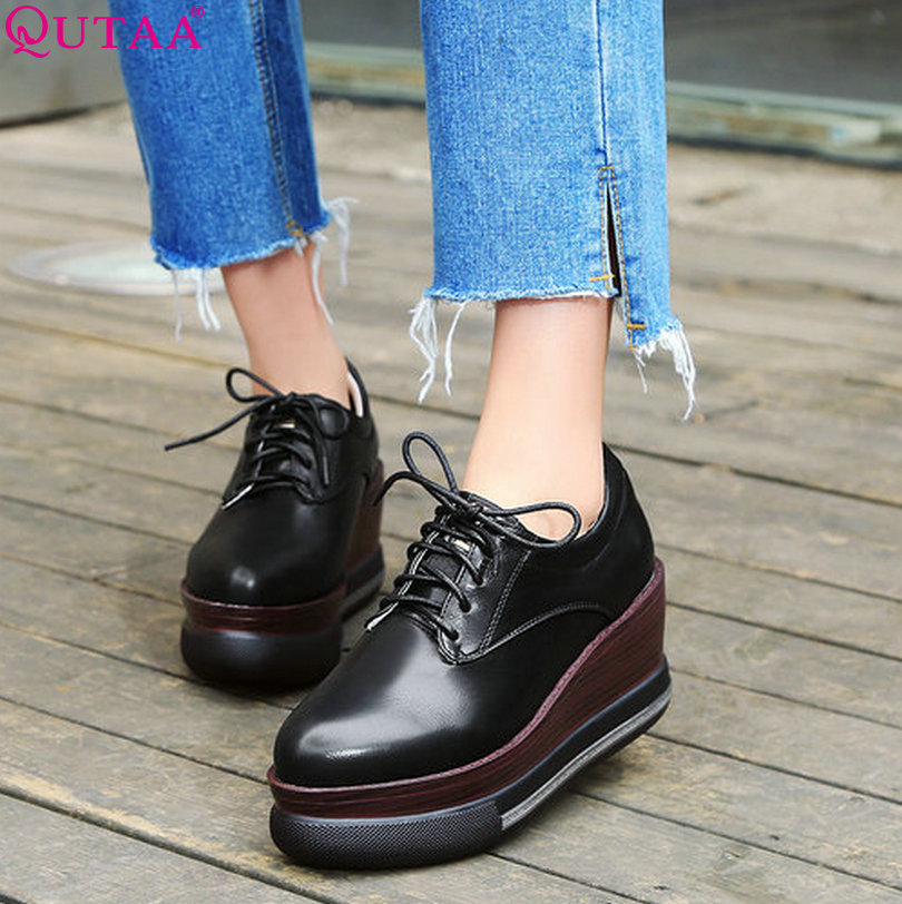 ФОТО QUTAA 2017 Women Pumps Ladies Shoes Wedge High Heel Fashion Round Toe PU Leather Lace Up Woman Wedding Shoes Size 34-39