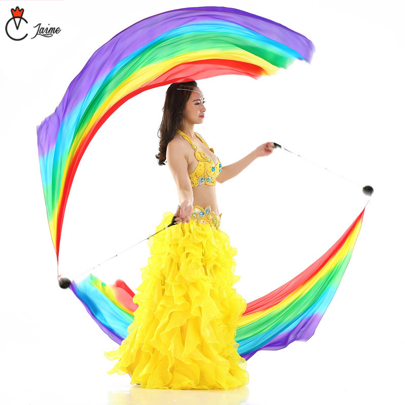 Belly Dance Silk Veil Poi 100% Silk Rainbow Color Veil+ Pois Chain Ball Women Streamer Stage Props Free Shipping Color Gradient
