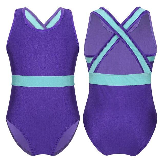 TiaoBug Kids Girls Sleeveless Sparkle One Piece Gymnastics Ballet Dance Leotard Fancy Costumes