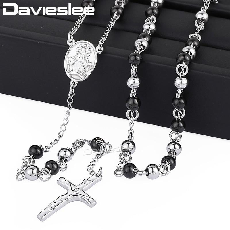 Colier Davieslee pentru bărbați Lanț de mărgele din oțel inoxidabil Femei Iisus Hristos pandantiv cruce lung rozari colier DLKN375-377