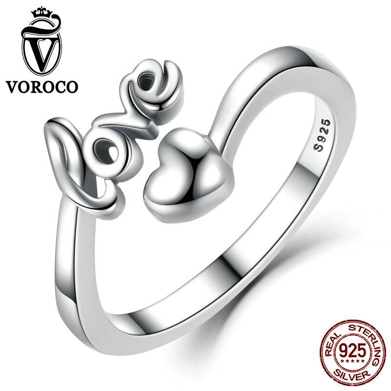 VOROCO Real 100% 925 Sterling Silver Láska a srdce Minimalistický Jednoduchý otevřený nastavitelný prsten Dámské a dámské jemné šperky SCR024