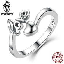 VOROCO Real 100% 925 Sterling Silver Love and Heart Minimalist Simple Open Adjustable Ring Women & Lady Fine Jewelry SCR024(China)
