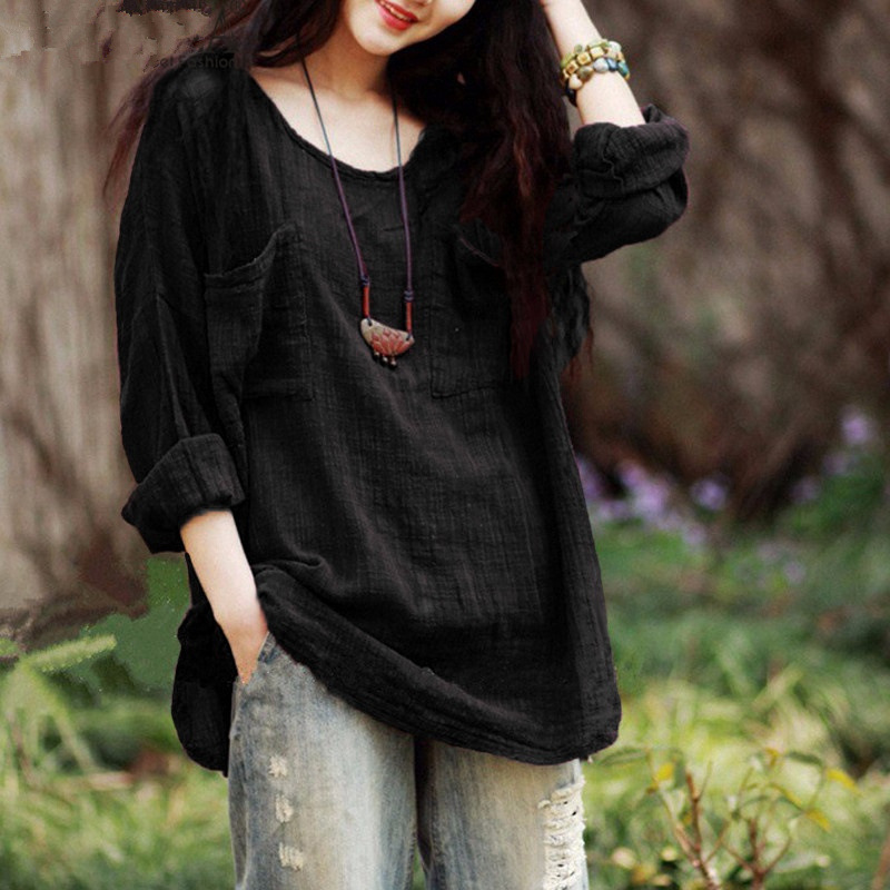 Women Pocket   Shirts   Autumn Casual Elegant O-neck   Blouse   Women Top Camisa Feminina Black Long Sleeve Ladies   Blouses     Shirt