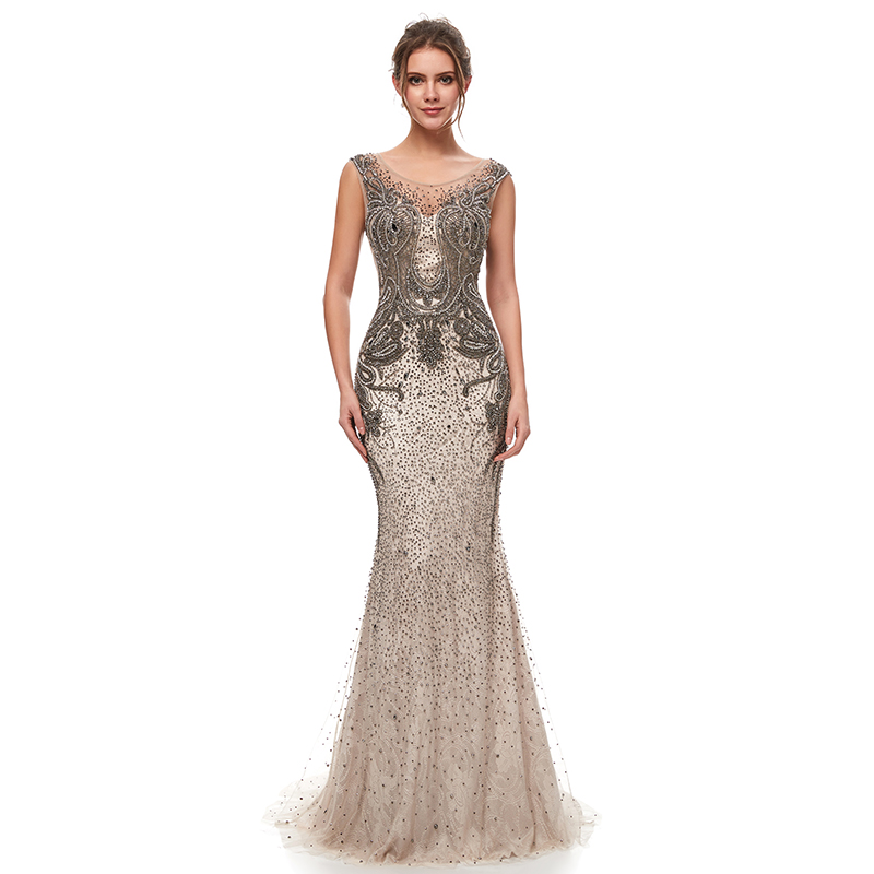 Luxury Beading Mermaid Celebrity Dresses 2019 Vintage Mocha Tulle Sleeveless Long Formal Evening Party Gown Fast Delivery L5398