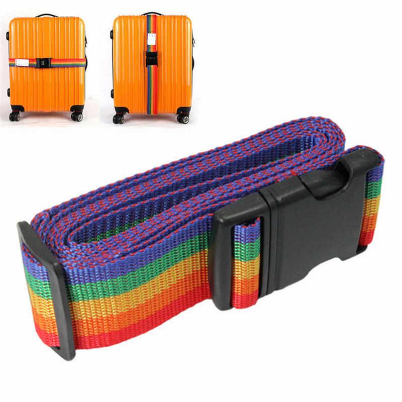 1PCS Luggage Suitcase Straps Baggage Rainbow Belt Luggage belt Adjustable Nylon Travel Luggage Backpack Bag