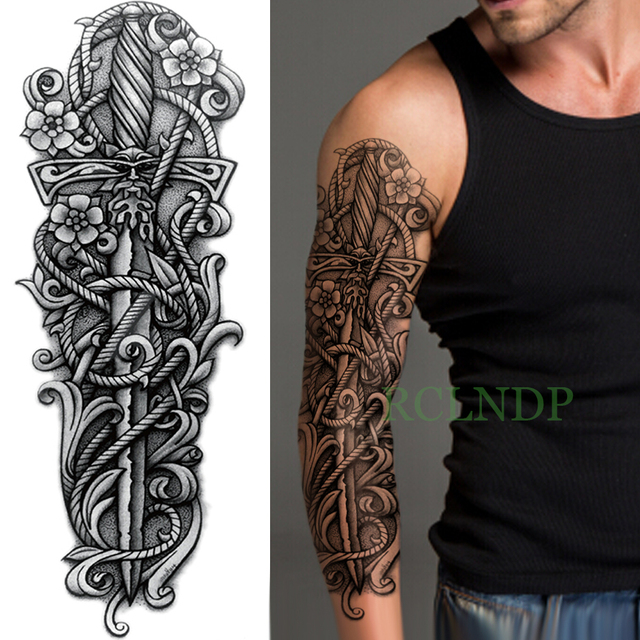 Waterproof Temporary Tattoo Sticker Cross Rose Flower Dagger Full