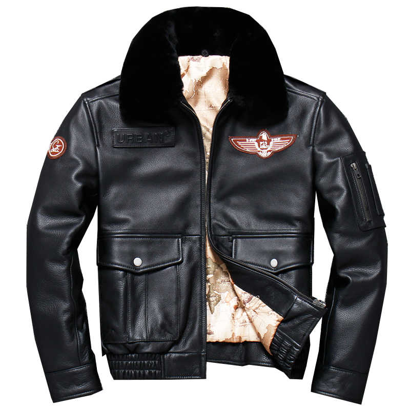 674ca0202 2019 Black Men Pilot Leather Jacket Wool Collar Plus Size XXXL Genuine  Cowhide Russian Winter Aviator
