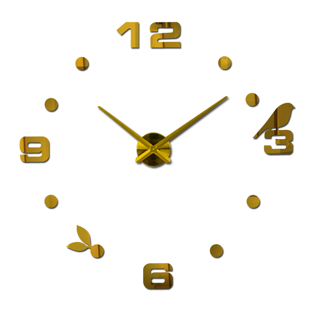 2017 new real mute wall clock watch living room needle quartz home decoration clocks acrylic mirror sticker diy