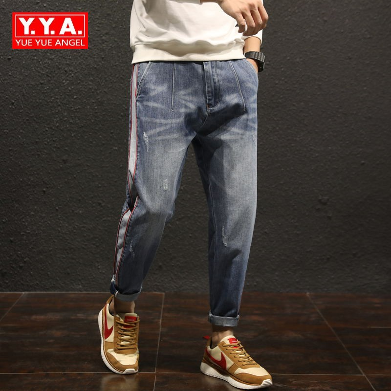 Fashion Denim Pants Men Loose Fit Blue Casual Pants Men Boot Cut Harem Jeans Plus Size 42 Mens Streetwear Male Classical Jeans
