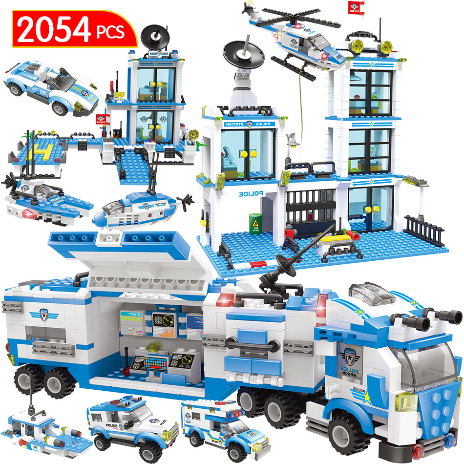 2054pcs Prison Figures Police Station Building Block Kits Compatible City Swat Bricks Truck Helicopter Toys for