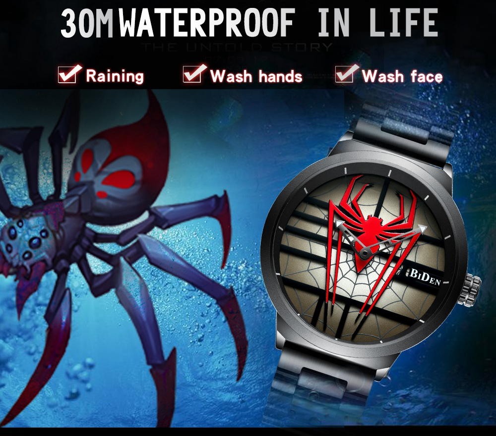Red Spider Stainless Steel Wristwatch - Waterproof 1
