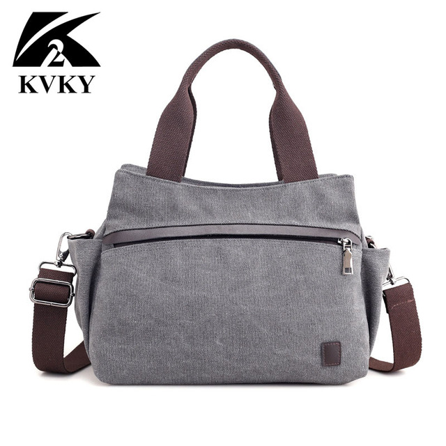 HOT! KVKY High Quality Canvas Bag Women Handbag Solid Zipper Design Casual Shoulder Bags for Female Crossbody Bag Messenger Bags