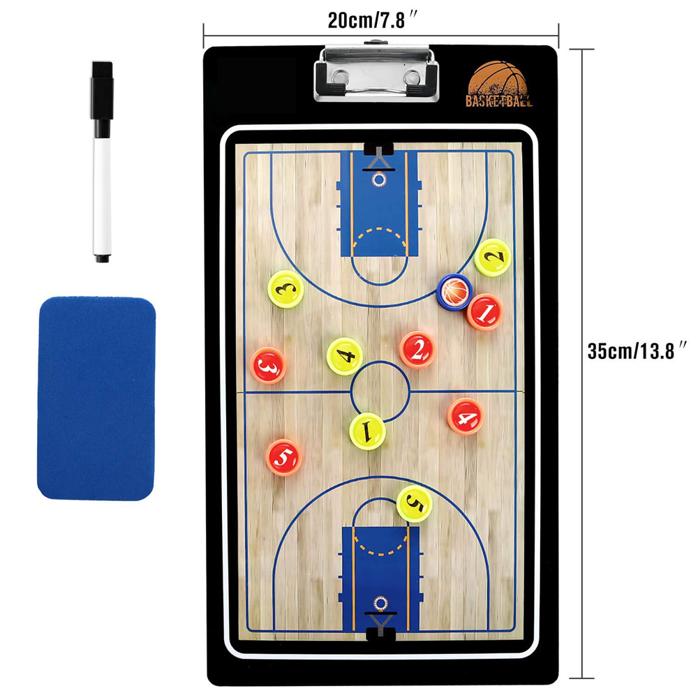 New Professional Basketball Coaching Board Double-sided Coaches Clipboard Dry Erase W/marker Basketball Tactical Board