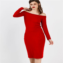Womens Solid Color Bodycon Dresses Long Sleeve Strapless Casual Female Clothing Sexy Style Apparel