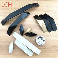 LCH New Design Matte Piano Black Solid Zinc Alloy Hole Pitch 32mm 192mm Geometric Design Modern style Cabinet Handle Door Pull