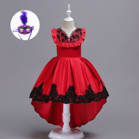 Red Blue Yellow Elegant Teenage Flower Girl Dresses Claret Red Long Gown Formal Party Prom Dress Christmas for Children