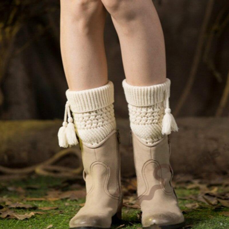 BONJEAN Hot Ladies Knitted Turn-down Tassel Pendant Stretch Boot Cuffs Womens Winter Leg Warmers Children Foot Cover Socks