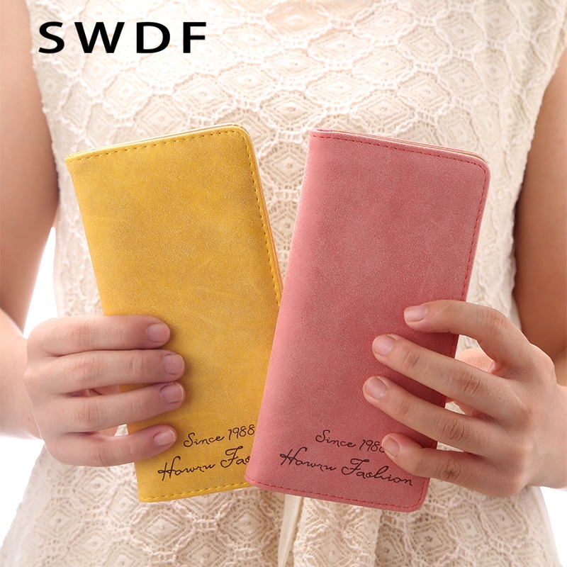 SWDF New Fashion Candy Color Long Design Nubuck Genuine Leather Wallet For Women , High Quality Women's Clutch Purse Wallet Bag 2016 new design fashion genuine leather clutch bag casual long purse high quality black business women wallet portefeuille femme