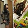 Autumn Winter Black Long Sleeve Sheath Gold Pattern High Neck Party Dresses 5