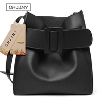 CHJJNY korean 2017 fashion simple style genuine leather women handle bags with big buckle
