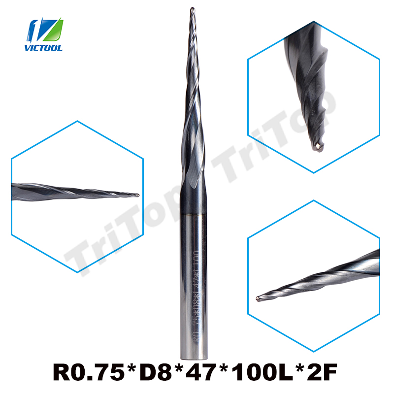 1pc R0.75*D8*47*100L*2F d 8 mm tungsten carbide Ball Nose cone type Tapered End Mills cnc milling cutter tools taper router bits free shipping 3pcs 6mm hrc55 d6 15 d6 50 four flutes roughing end mills milling tools carbide cnc router bits