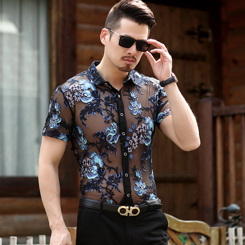 Embroidery Men Transparent Shirt 2018 Summer New Sexy Lace Shirt For Male See Through Mesh Shirt Club Party Prom Chemise Homme
