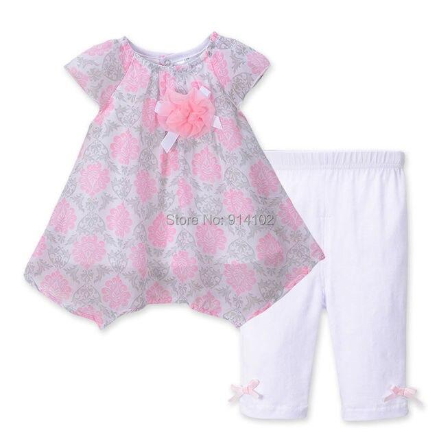 Floral Summer Girls Clothing Set Irregular Chiffon Dress & Pants Suit Short Sleeve Baby Kids Clothes for Girl Infant Dress