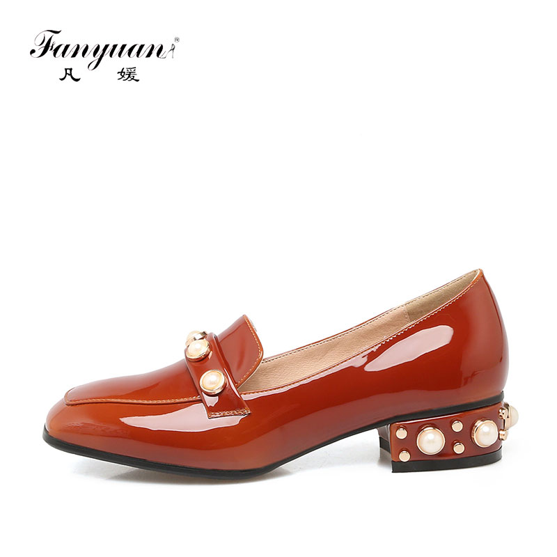 ФОТО Fanyuan 2017 Women Thick Heels Shoes Slip-on Oxford Top Quality Square Toe Working Pumps Pearl Decor Party Shoes Big Size 32-48