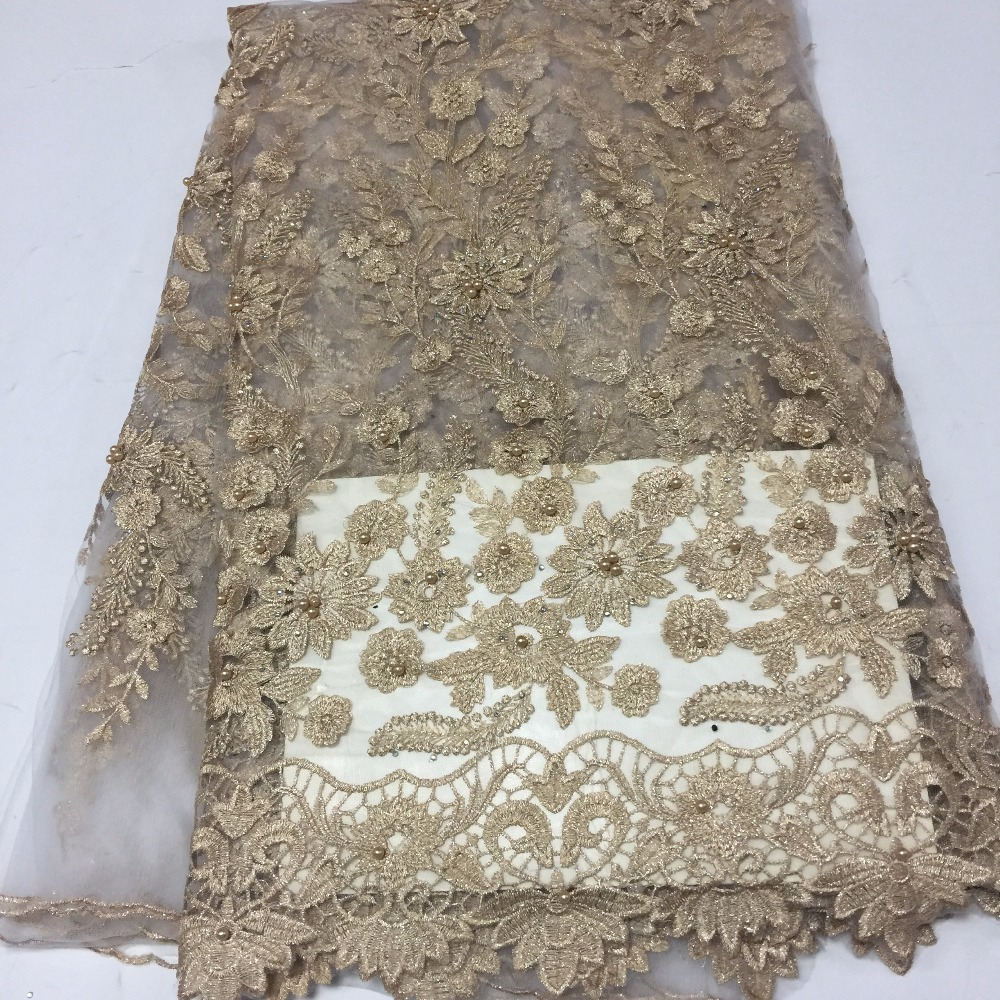 High end champagne gold beaded lace fabric Nigerian lace fabric wedding in 2018 tulle lace fabric