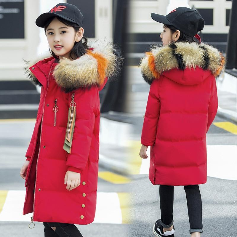 Girls White Duck Down Jackets 2018 New Fashion Winter Warm Long Thick Kids Coat Natural Fur Collar Girls Parkas 8 9 10 11 12 Top цены онлайн