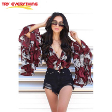 Try Everything Long Sleeve Ruffle Blouse Women Summer 2018 Bandage Fashion Summer Tops for women V-Neck Floral Print Sexy Blouse ethnic plunging neck long sleeve print blouse for women