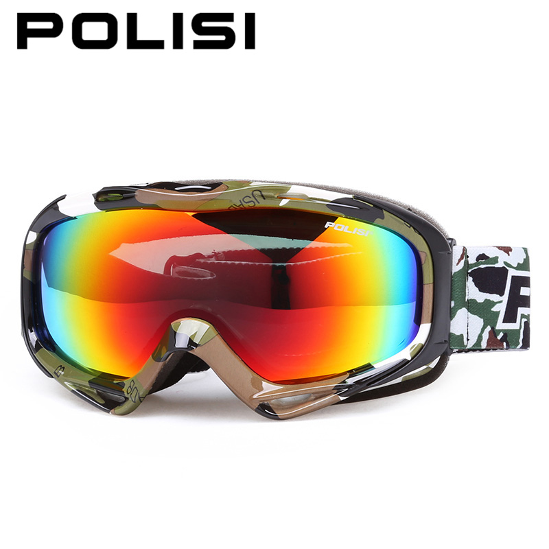 POLISI extérieur neige Snowboard lunettes de Ski polarisées Double couche lentille Anti-buée lunettes de Ski hommes femmes motoneige Skate lunettes