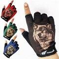 2015 hombres de la moda patrón lobo del semi-dedo guantes tácticos masculinos medio dedo guantes de fitness deportes de conducción antideslizantes guantes